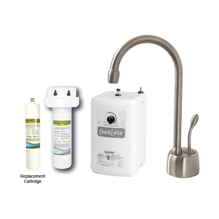 Westbrass Stainless Steel Classic Hot Water Dispenser Faucet with Under-counter Filter Kit