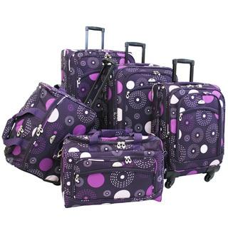 American Flyer Purple Fireworks 5-piece Spinner Luggage Set