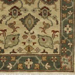 Hand-knotted Green/Ivory Southwestern Hamilton New Zealand Wool Rug (5'6 x 8'6)