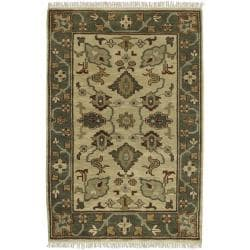 Hand-knotted Green/Ivory Southwestern Hamilton New Zealand Wool Rug (5'6 x 8'6)
