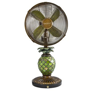 Deco Breeze DBF0247 Mosaic Glass Pineapple 10-inch Table Fan