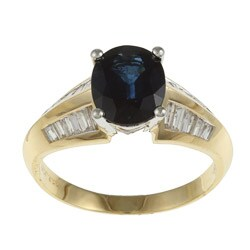 Kabella 14k Two-tone Gold Sapphire and 1/2ct TDW Diamond Ring (G-H, SI1-SI2)
