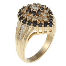 Kabella 14k Yellow Gold Sapphire and 5/8ct TDW Diamond Ring (G-H, SI1-SI2) - Thumbnail 1