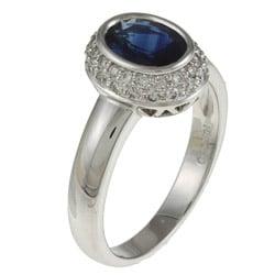 Kabella 18k White Gold Sapphire and 1/3ct TDW Diamond Ring (H, SI1-SI2) - Thumbnail 1