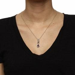 La Preciosa Sterling Silver Amethyst Teardrop Necklace - Thumbnail 2