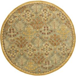 Safavieh Handmade Tree of Life Slate Blue Wool Rug (3'6 Round)