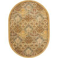 """Safavieh Handmade Tree of Life Slate Blue Wool Rug - 4'-6"""" x 6'-6"""" oval"""
