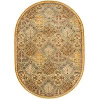 """Safavieh Handmade Tree of Life Slate Blue Wool Rug - 7'6"""" x 9'6"""" oval"""