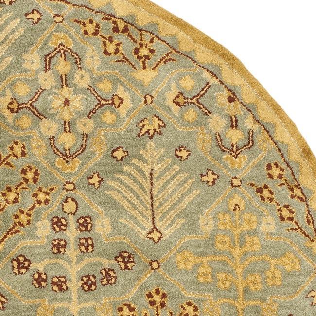 Safavieh Handmade Tree of Life Slate Blue Wool Rug (8' Round) - Thumbnail 1