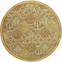 Safavieh Handmade Tree of Life Slate Blue Wool Rug - 8' x 8' Round