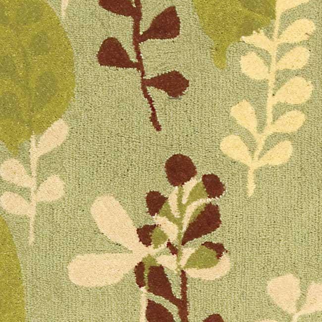 Safavieh Handmade Ferns Light Green Wool Rug (6' x 9')