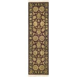 Safavieh Handmade Heirloom Burgundy/ Black Wool Runner (2'3 x 8')