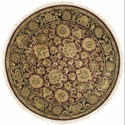 Safavieh Handmade Heirloom Burgundy/ Black Wool Rug (3' 6 Round)
