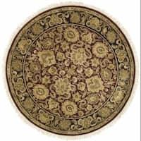"Safavieh Handmade Heirloom Burgundy/ Black Wool Rug - 3'6"" x 3'6"" round"