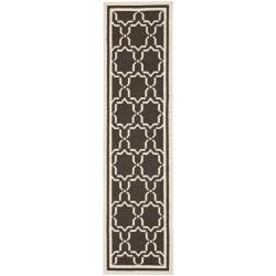 Safavieh Hand-woven Moroccan Reversible Dhurrie Chocolate/ Ivory Wool Runner (2'6 x 10')