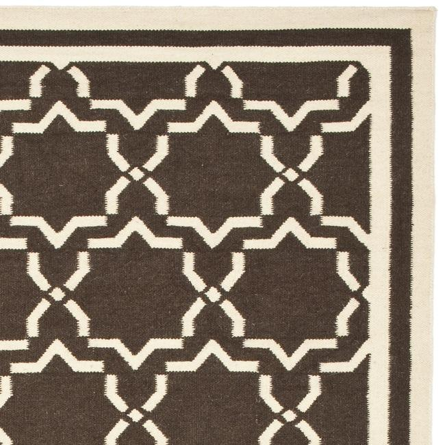 Safavieh Hand-woven Moroccan Reversible Dhurrie Chocolate/ Ivory Wool Rug (3' x 5') - Thumbnail 1