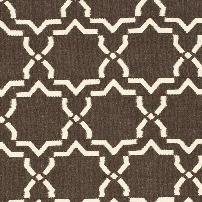 Safavieh Hand-woven Moroccan Reversible Dhurrie Chocolate/ Ivory Wool Rug (3' x 5') - Thumbnail 2