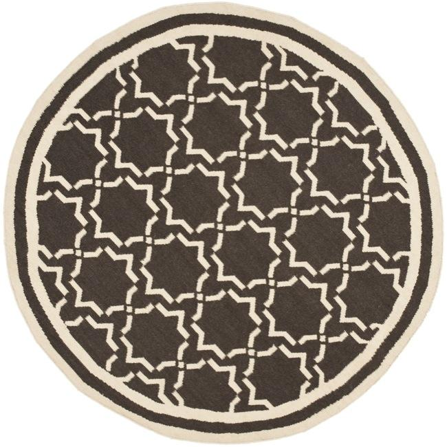 Safavieh Hand-woven Moroccan Reversible Dhurrie Chocolate/ Ivory Wool Rug - 6' x 6' Round