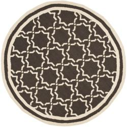 Safavieh Hand-woven Moroccan Reversible Dhurrie Chocolate/ Ivory Wool Rug - 6' x 6' Round - Thumbnail 0