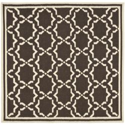 Safavieh Hand-woven Moroccan Reversible Dhurrie Chocolate/ Ivory Wool Rug (6' Square)