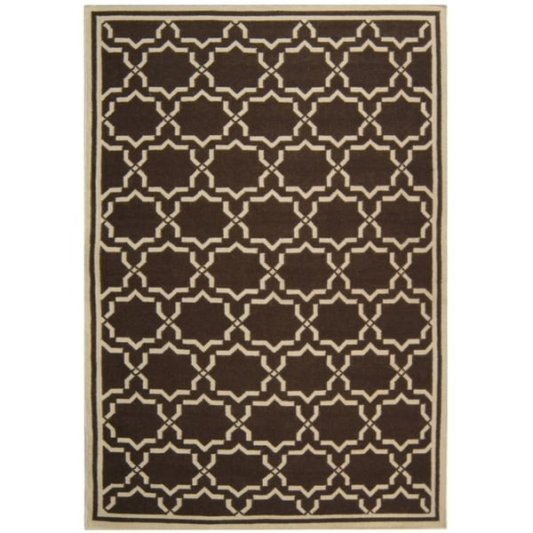 Safavieh Hand-woven Moroccan Reversible Dhurrie Chocolate/ Ivory Wool Rug - 9' x 12'