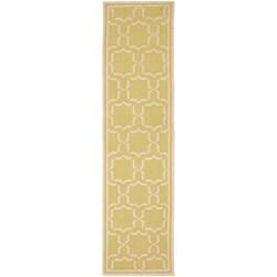 Safavieh Hand-woven Moroccan Reversible Dhurrie Green/ Ivory Wool Runner (2'6 x 10')
