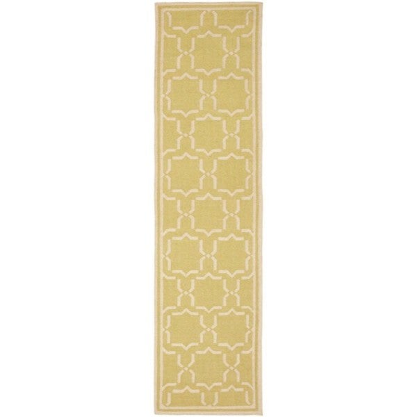 Safavieh Hand-woven Moroccan Reversible Dhurrie Green/ Ivory Wool Runner (2'6 x 12')