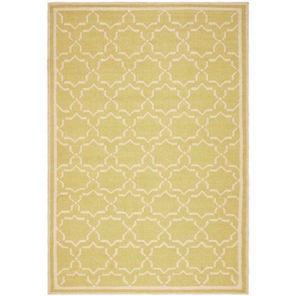 Safavieh Hand-woven Moroccan Reversible Dhurrie Green/ Ivory Wool Rug (6' x 9')