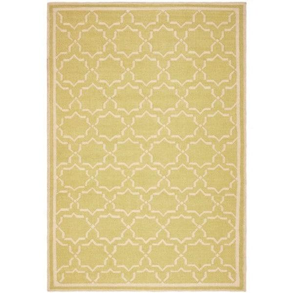 Safavieh Hand-woven Moroccan Reversible Dhurrie Green/ Ivory Wool Rug - 8' x 10'
