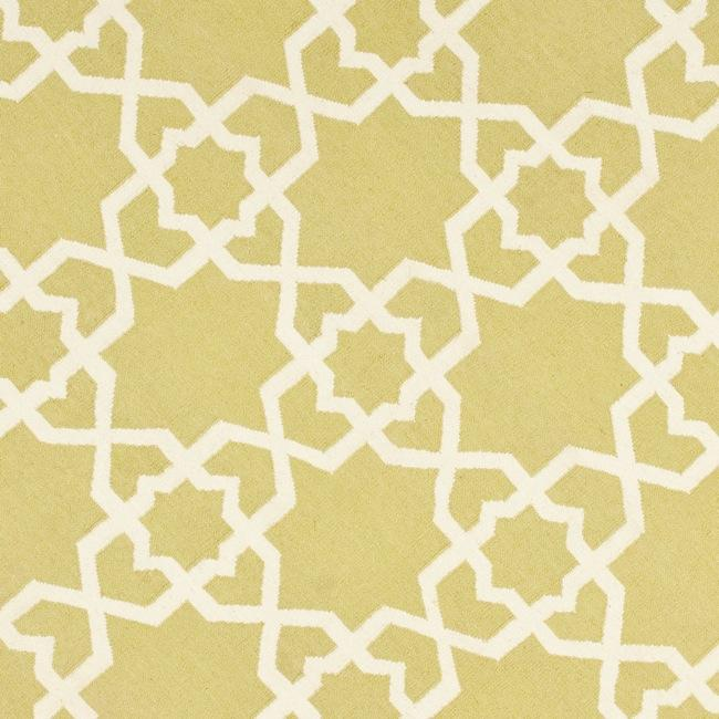 Safavieh Hand-woven Moroccan Reversible Dhurrie Green/ Ivory Wool Rug (8' Round) - Thumbnail 2