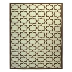 Safavieh Transitional Handmade Light Blue/Chocolate Reversible Dhurrie Wool Rug - 10' x 14' - Thumbnail 0