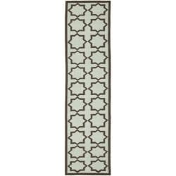 Safavieh Hand-woven Moroccan Reversible Dhurrie Light Blue/ Chocolate Wool Runner (2'6 x 10')
