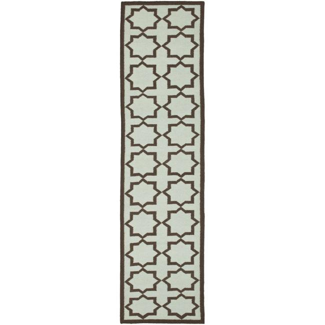 Safavieh Hand-woven Moroccan Reversible Dhurrie Light Blue/ Chocolate Wool Runner (2'6 x 12')