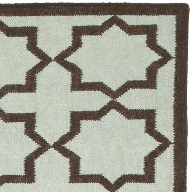 Safavieh Hand-woven Moroccan Reversible Dhurrie Light Blue/ Chocolate Wool Runner (2'6 x 12') - Thumbnail 1