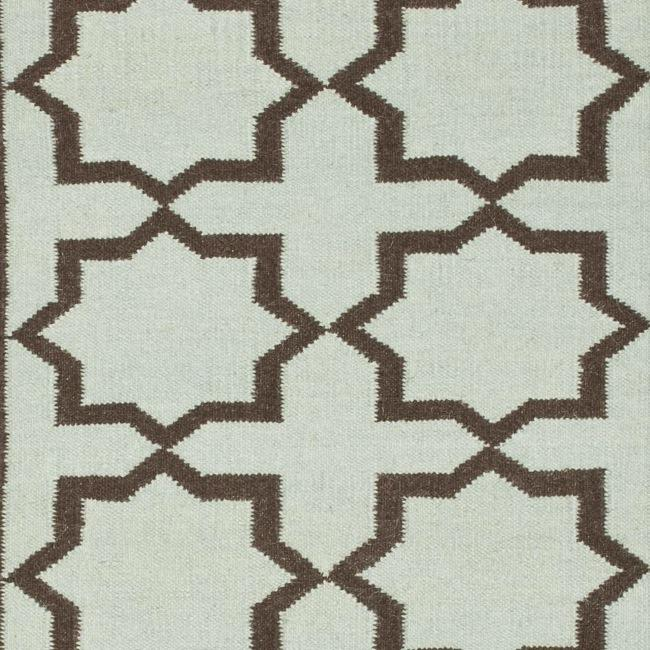 Safavieh Hand-woven Moroccan Reversible Dhurrie Light Blue/ Chocolate Wool Runner (2'6 x 12') - Thumbnail 2