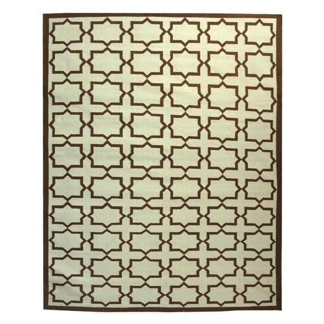 Safavieh Hand-woven Moroccan Reversible Dhurrie Light Blue/ Chocolate Wool Rug (4' x 6')