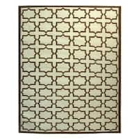 Safavieh Hand-woven Moroccan Reversible Dhurrie Light Blue/ Chocolate Wool Rug - 4' x 6'