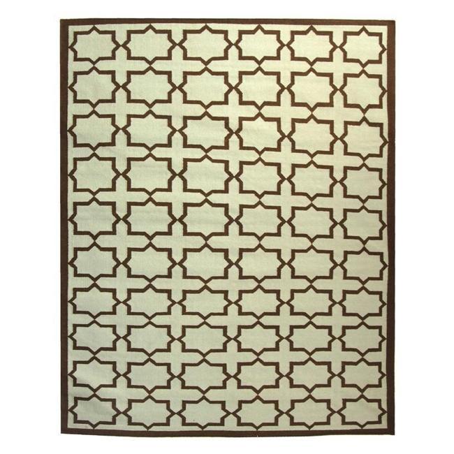 Safavieh Hand-woven Moroccan Reversible Dhurrie Light Blue/ Chocolate Wool Rug (8' x 10') - Thumbnail 2