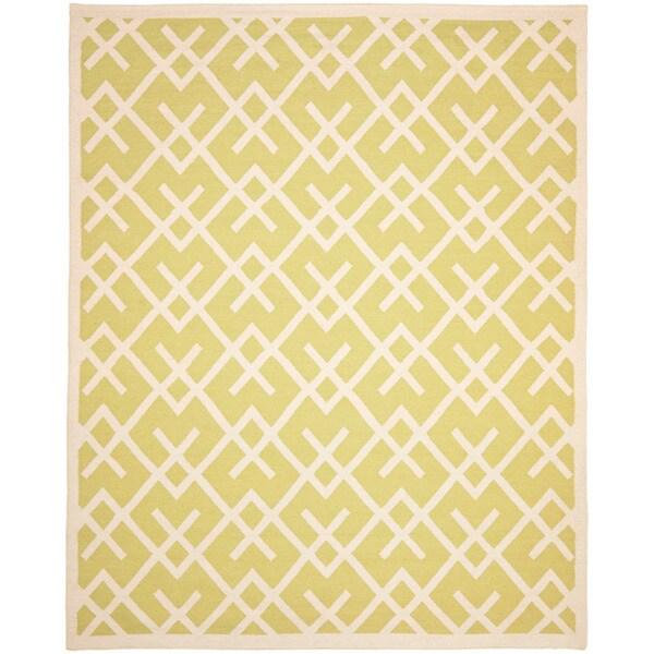 Safavieh Handwoven Moroccan Reversible Dhurrie Light Green/ Ivory Wool Area Rug (4' x 6')