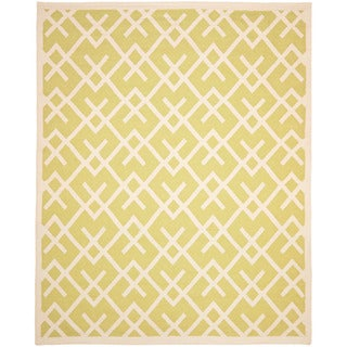 Safavieh Hand-woven Moroccan Reversible Dhurrie Light Green/ Chocolate Wool Rug (6' x 9')