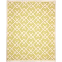 Safavieh Hand-woven Moroccan Reversible Dhurrie Light Green/ Chocolate Wool Rug - 8' x 10'
