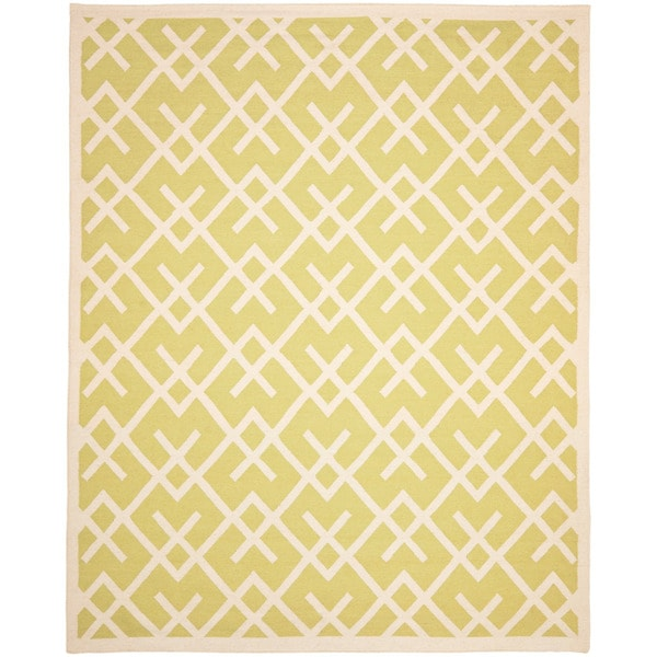 Safavieh Hand-woven Moroccan Reversible Dhurrie Light Green/ Chocolate Wool Rug (8' x 10')
