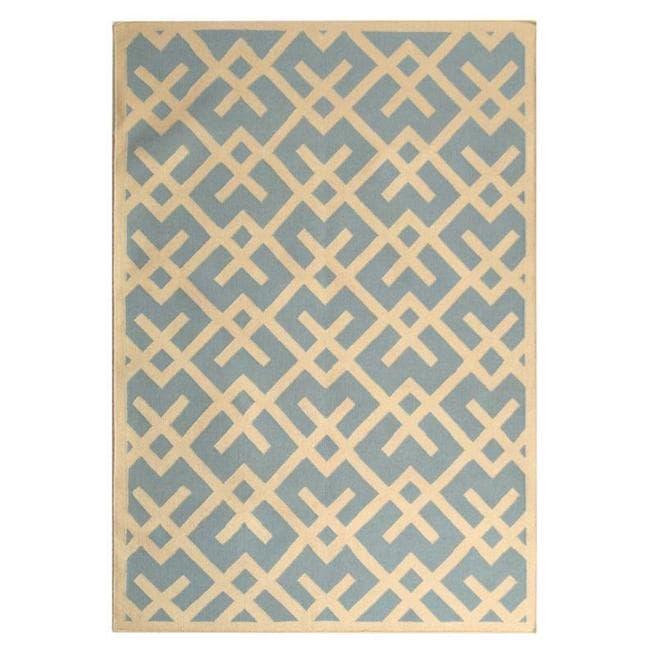 Safavieh Handwoven Moroccan Reversible Dhurrie Light Blue/ Ivory Geometric Wool Rug (3' x 5')
