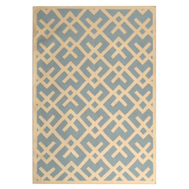Safavieh Handwoven Moroccan Reversible Dhurrie Light Blue/ Ivory Geometric Wool Rug (3' x 5') - Thumbnail 1