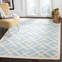 Safavieh Handwoven Moroccan Reversible Dhurrie Geometric-pattern Light Blue/ Ivory Wool Rug - 6' x 9'