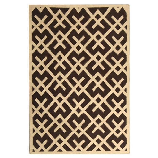 Safavieh Handwoven Moroccan Reversible Dhurrie Chocolate/ Ivory Wool Area Rug (3' x 5') - Thumbnail 1