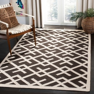 Safavieh Handwoven Moroccan Reversible Dhurrie Chocolate/ Ivory Wool Area Rug (6' x 9')