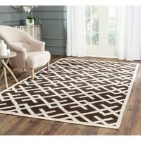 Safavieh Hand-woven Dhurrie Flatweave Brown/ Ivory Wool Rug - 8' x 10'