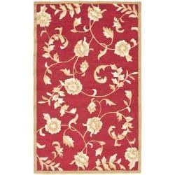 Safavieh Hand-hooked Trellis Red/ Gold Polypropylene Rug (3' x 5')