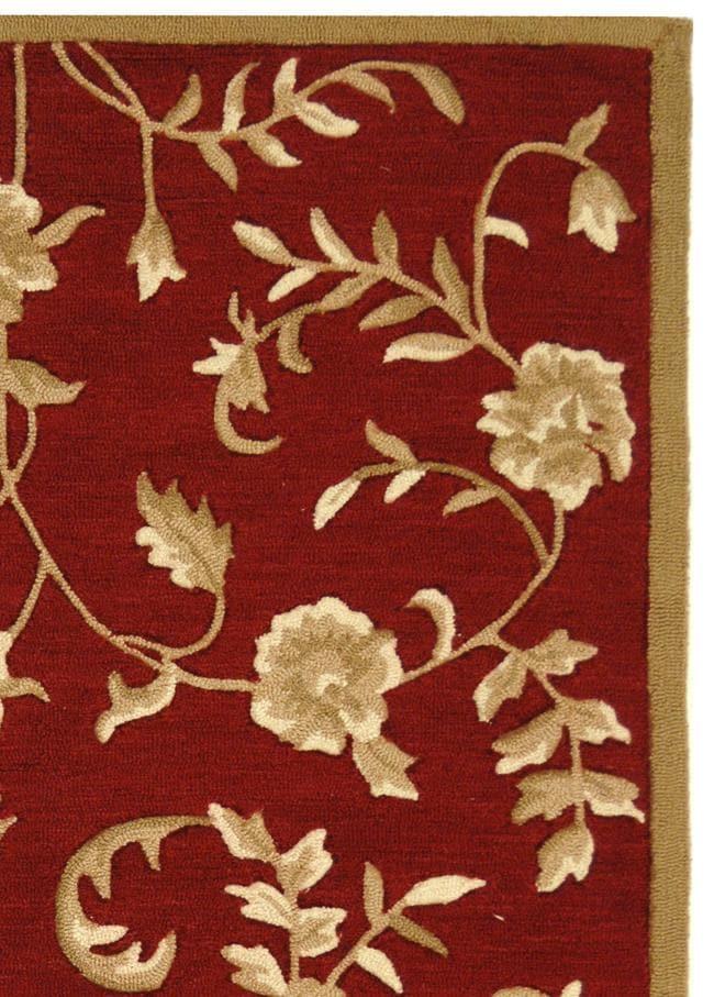Safavieh Hand Hooked Trellis Red Gold Polypropylene Rug